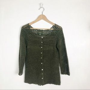 Eddie Bauer hand crocheted green cardigan